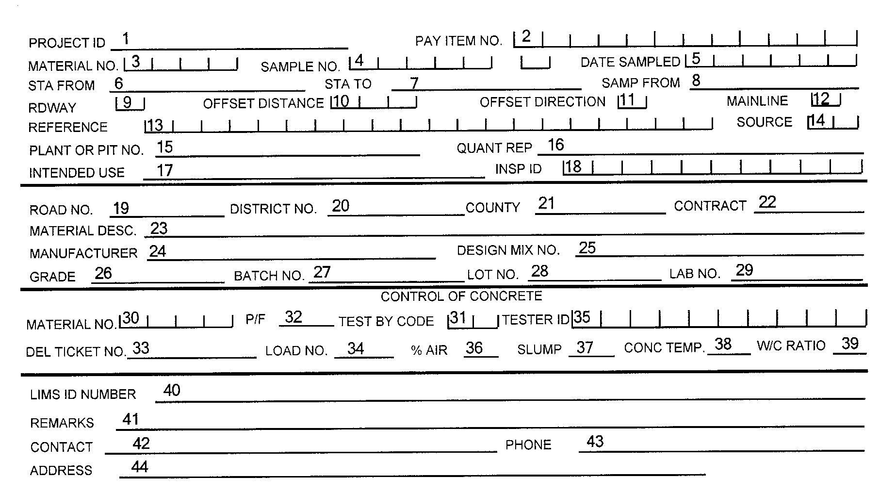 Florida DOT Sample Transmittal Cards, C-22, 3 Part NCR Paper ...