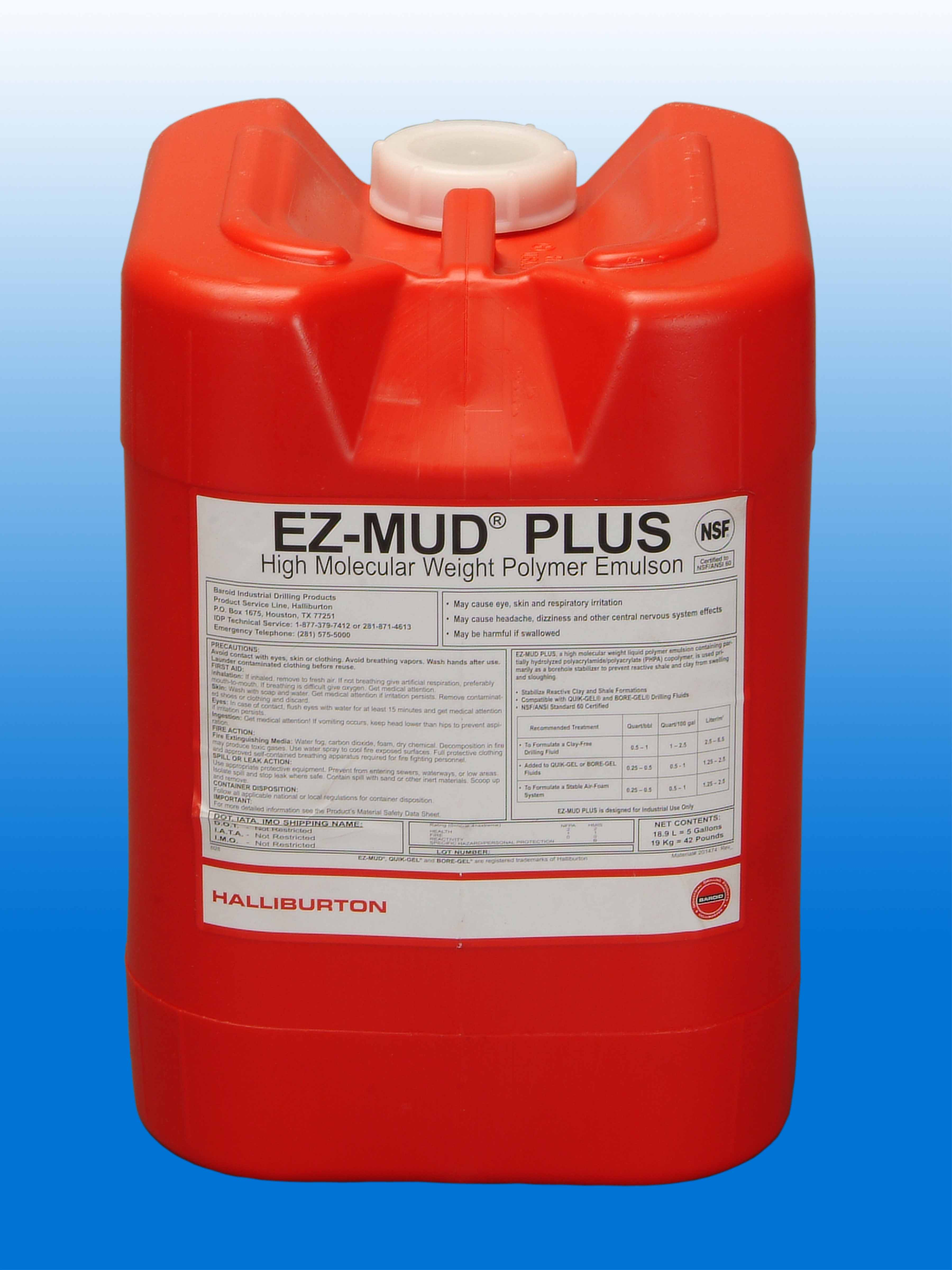 EZ-Mud Plus, Liquid Polymer Emulsion by Baroid, 5 Gal  Container